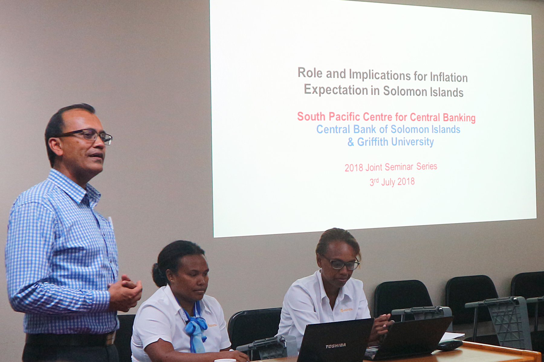 Head of Griffith Asia Institute's South Pacific Studies group, Dr Parmendra Sharma giving his remarks at the begining of the seminar