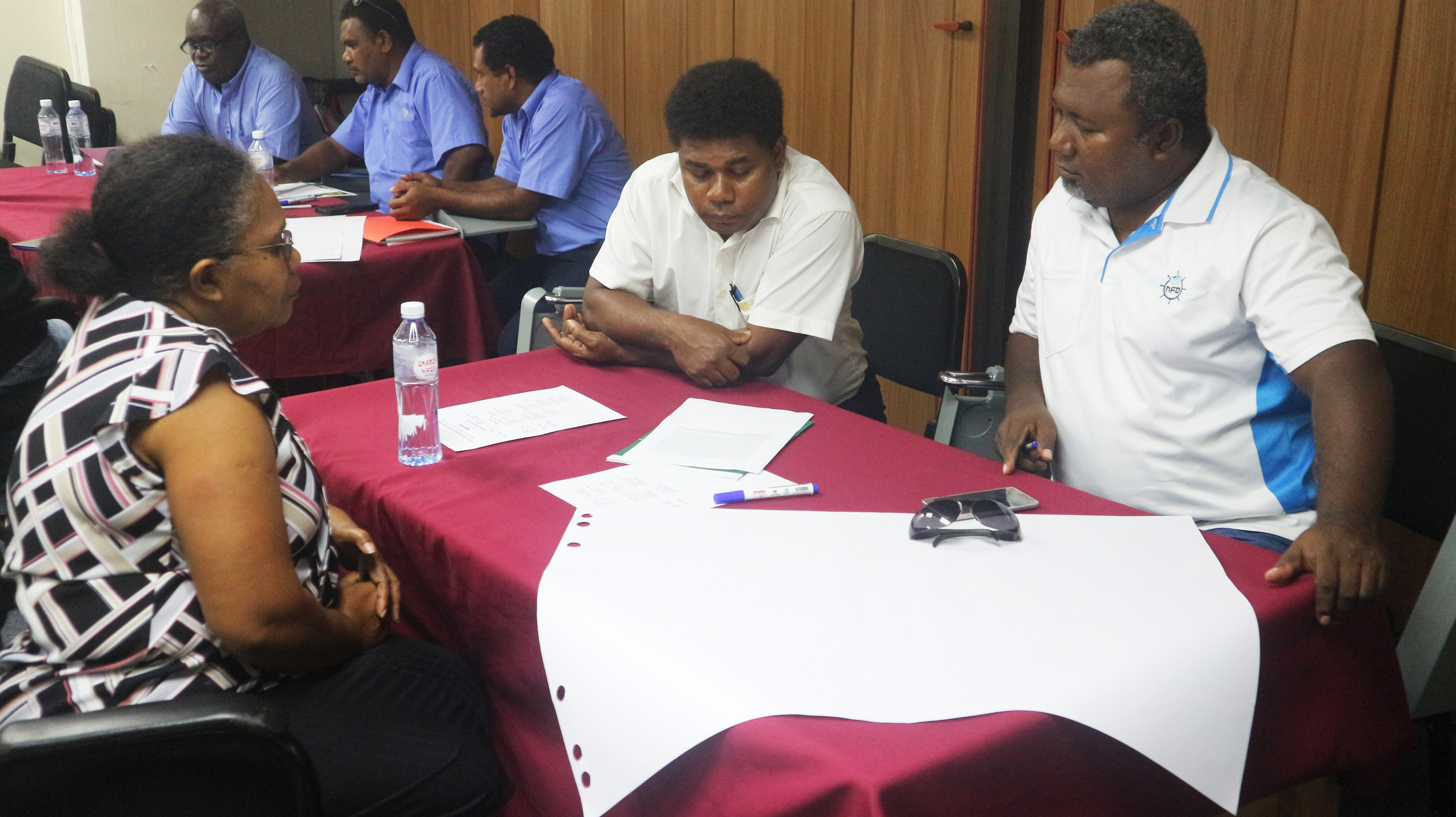 Tom Ha'aute, CBSI Senior Analyst for Financial Regulatons System Dept (FSRD) participating in a discussion with some of the CU executive members